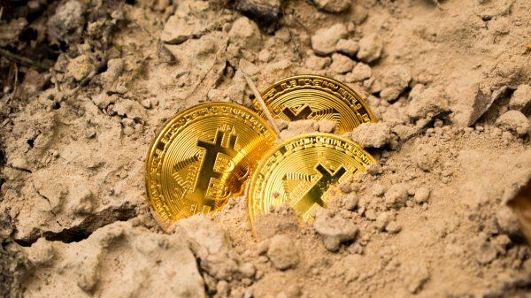 three Bitcoins on soil